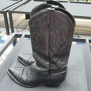J Chrisholm cowboy western black leather boots 8.